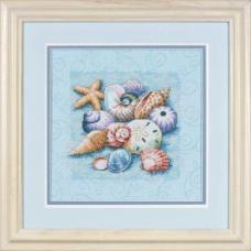 """Набор для вышивания крестом """"Ракушки на голубом//Shells on Blue"""" DIMENSIONS 13725"""