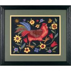"Набор для вышивания гладью ""Петух на черном//Rooster on Black"" DIMENSIONS 01543"