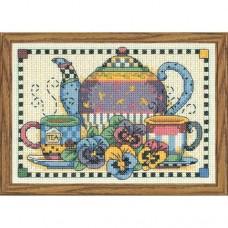 """Набор для вышивания крестом """"Время вечернего чая//Teatime Pansies"""" DIMENSIONS 06877"""