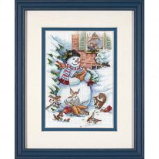 """Набор для вышивания крестом """"Снеговик и друзья//Snowman & Friends"""" DIMENSIONS 08801"""
