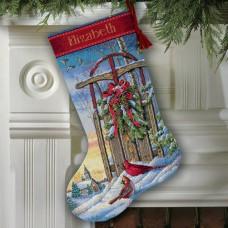 """Набор для вышивания крестом """"Рождественские санки//Christmas Sled Stocking"""" DIMENSIONS 08819"""