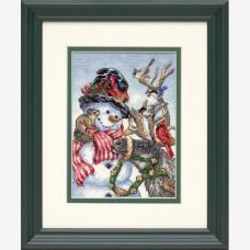"""Набор для вышивания крестом """"Снеговик и олень//Snowman & Reindeer"""" DIMENSIONS 08824"""