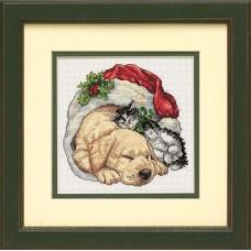 """Набор для вышивания крестом """"Домашние животные рождественским утром//Christmas Morning Pets"""" DIMENSIONS 08826"""