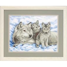 """Набор для вышивания крестом """"Волчица и волчата//Mother Wolf and Pups"""" DIMENSIONS 13130"""