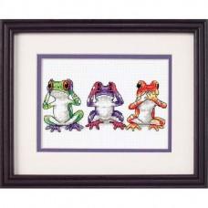 """Набор для вышивания крестом """"Трио лягушек//Tree Frog Trio"""" DIMENSIONS 16758"""