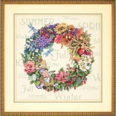 """Набор для вышивания крестом """"Венок всех времён года//Wreath of All Seasons"""" DIMENSIONS 35040"""