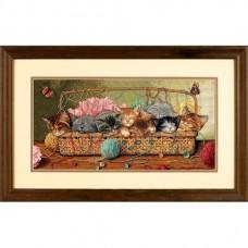 "Набор для вышивания крестом ""Котята в корзинке//Kitty Litter"" DIMENSIONS 35184"