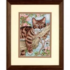 """Набор для вышивания крестом """"Дремлющий котенок//Napping Kitten"""" DIMENSIONS 65090"""