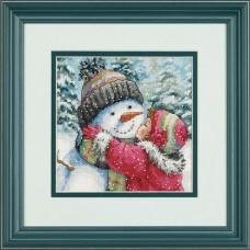 "Набор для вышивания крестом ""Поцелуй для снеговика//A Kiss for Snowman"" DIMENSIONS 70-08833"