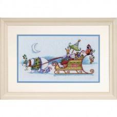 """Набор для вышивания крестом """"Снежный медведь и сани//Snow Bear and Sleigh"""" DIMENSIONS 70-08864"""