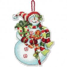 """Набор для вышивания крестом """"Украшение Снеговик со сладостями//Snowman with Sweets Ornament"""" DIMENSIONS 70-08915"""