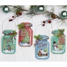 """Набор для вышивания крестом """"Рождественские баночки//Christmas Jar Ornaments"""" DIMENSIONS 70-08964"""
