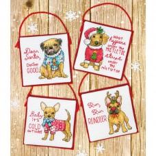 """Набор для вышивания крестом """"Рождевственские щенки//Christmas Pups Ornaments"""" DIMENSIONS 70-08972"""