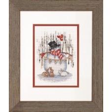 """Набор для вышивания крестом """"Радостный снеговик//Joyful Snowman"""" DIMENSIONS 70-08984"""