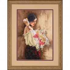 """Набор для вышивания крестом """"Женщина с букетом//Woman with Bouquet"""" DIMENSIONS 70-35274"""