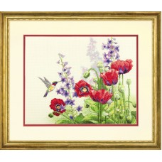 "Набор для вышивания крестом ""Колибри и маки//Hummingbird and Poppies"" DIMENSIONS 70-35344"