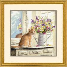 """Набор для вышивания крестом """"Котенок в окне//Kitten in the Window"""" DIMENSIONS 70-35359"""