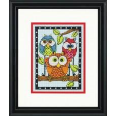 """Набор для вышивания крестом """"Трио сов//Owl Trio"""" DIMENSIONS 70-65159"""