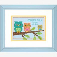 "Набор для вышивания крестом ""Совушки//Owl Mini Birth Record"" DIMENSIONS 70-73699"