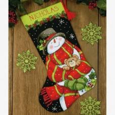 """Набор для вышивания гобеленом """"Снеговик и медвеженок//Snowman and Bear Stocking"""" DIMENSIONS 71-09151"""