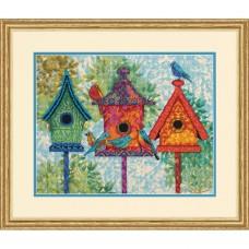 """Набор для вышивания гобеленом """"Красочные домики для птиц//Colorful Birdhouses"""" DIMENSIONS 71-20088"""